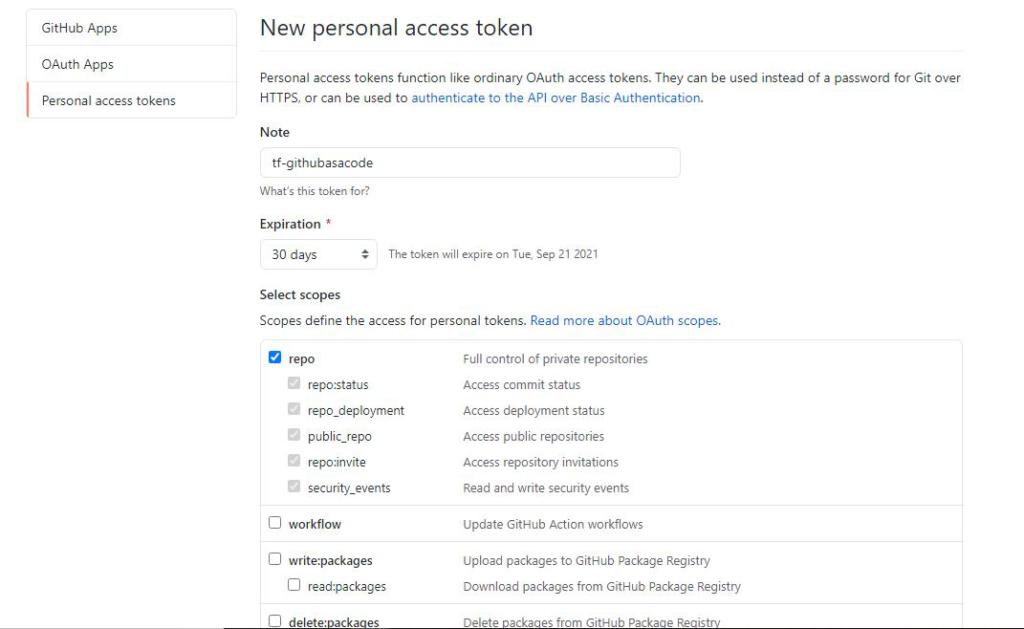 Personal Access Token Settings